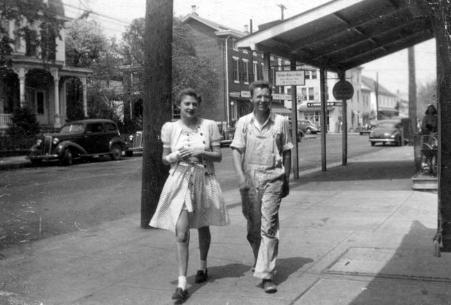 millie and elmer in 1942 walking down main street in new hope pa